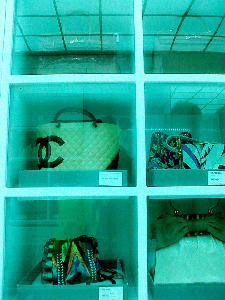 Hermès Birkin (1998), Hermès Kelly (2007), Emilio Pucci (1980-89), Emilio Pucci (1967-69), Valentino Aphrodite Bow Bag (2012), Missoni (2012) and Chanel Cambon Tote (1990-99) - Simone Handbag Museum, Gangnam-gu, Seoul, South Korea