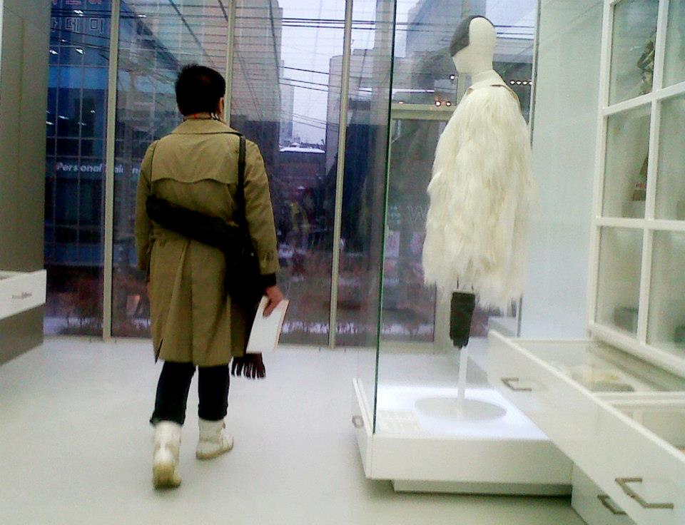 Mon with a Maison Martin Margiela glove handbag (2000) to his right (which is revisited for its H&M collaboration) - Simone Handbag Museum, Gangnam-gu, Seoul, South Korea