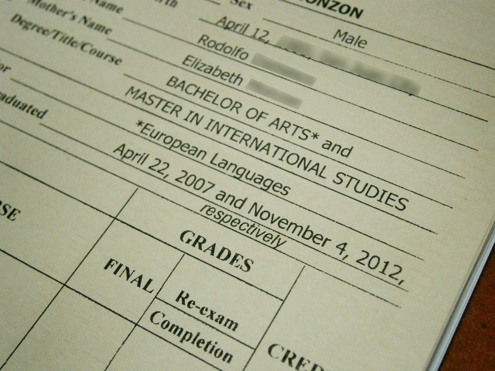 My Transcript of Records bearing my undergraduate and graduate degrees - UP Diliman