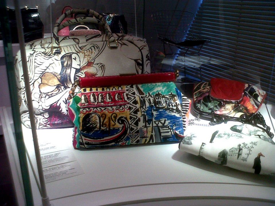 Prada Fairy bag (SS 2008), Prada Venezia bag (SS 2004) and a Leitmotiv bag - Simone Handbag Museum, Gangnam-gu, Seoul, South Korea