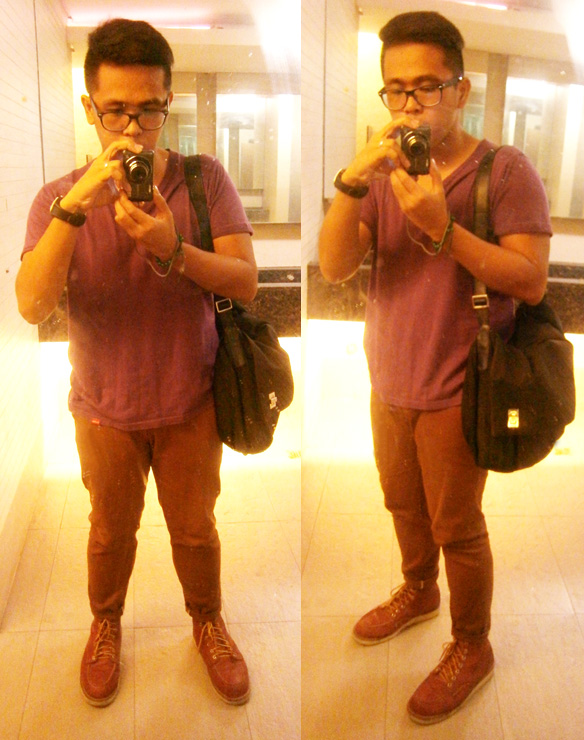 Purple V-Neck shirt, brick jeans, Red Wing 875 boots, Gucci microfiber messenger - Manila, Philippines