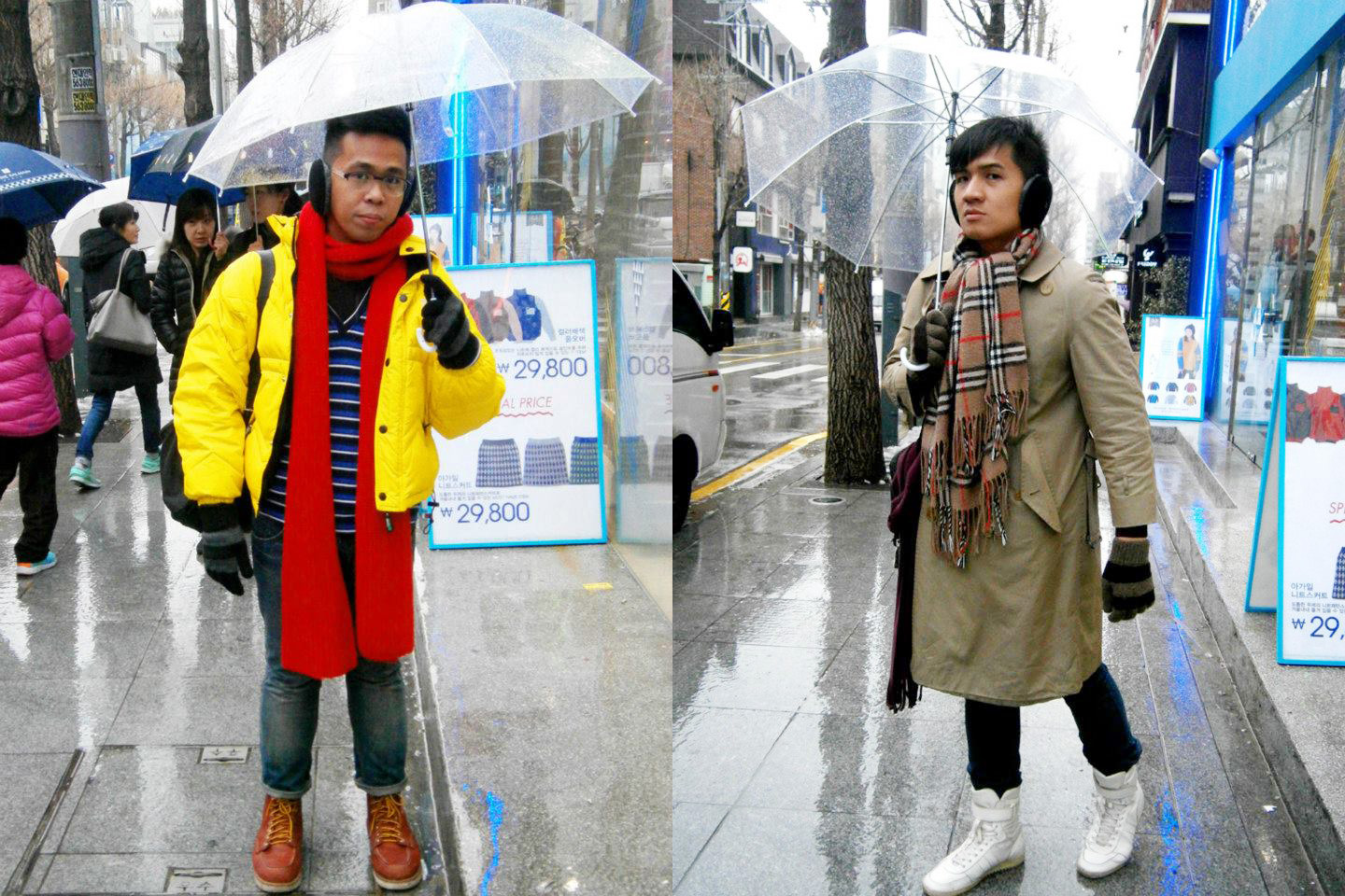 Rainy winter - me on the bright side, while Mon in his neutral ensemble ---- and I love out transparent umbrellas we bought for only KRW 3,500!