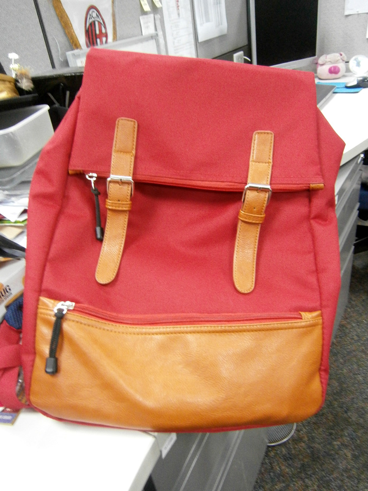 Red backpack bought from Myeongdong in Seoul