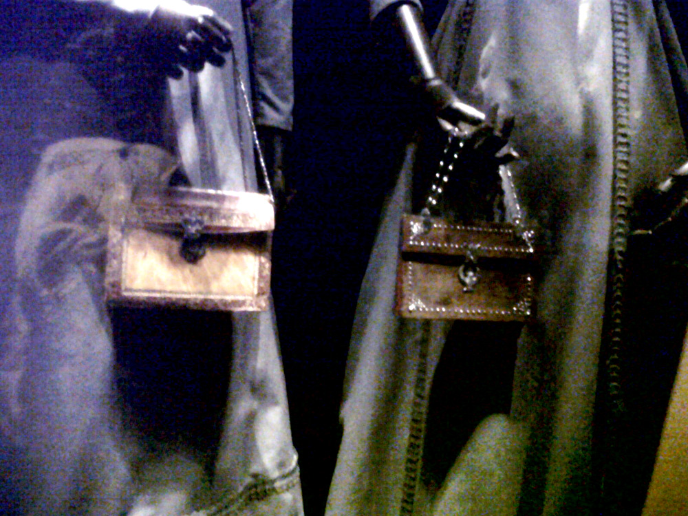 Two bags from Britain (1800 to 1809) --- (Left): leather, tortoise-shell and metal , (Right): wood, leather and steel - Simone Handbag Museum, Gangnam-gu, Seoul, South Korea