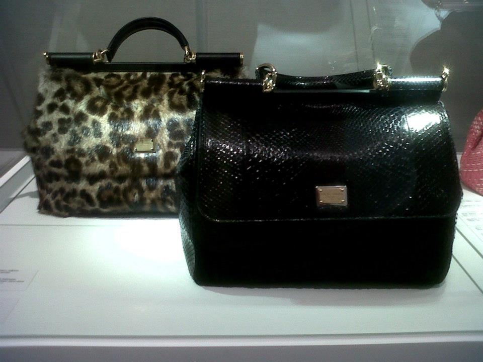 Two Dolce & Gabbana Miss Sicily bags - left leopard print from FW 2012 and a special items collection made from python skin and astrakhan - Simone Handbag Museum, Gangnam-gu, Seoul, South Korea