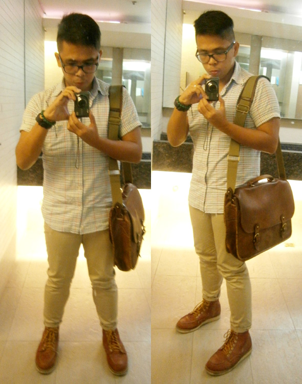 "Vintage Balenciaga shortsleeves polo, khaki pants, Red Wing 875 boots, Mulberry wexford messenger briefcase - Manila, Philippines - ""mulberry bag philippines"""