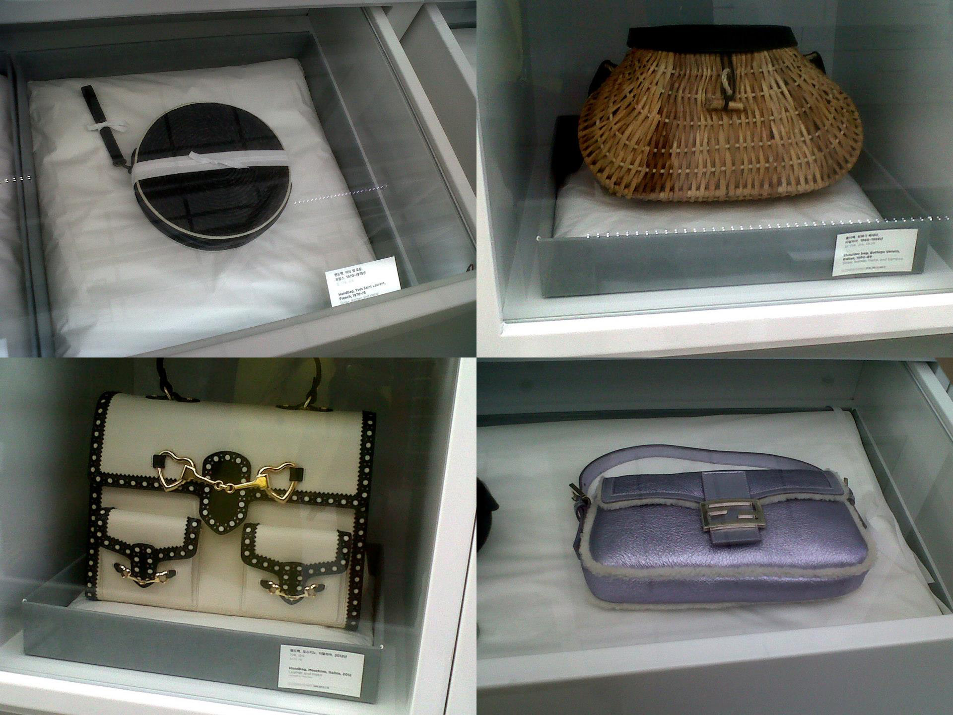 Yves Saint Laurent (1970-75), Bottega Veneta (1980 -89), Fendi baguette (2011) and Moschino (2012) - Simone Handbag Museum, Gangnam-gu, Seoul, South Korea
