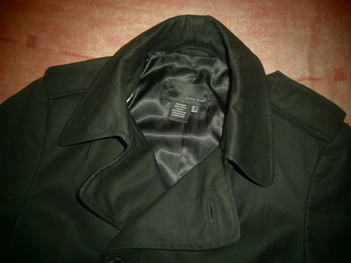 Black Zara Man double breasted trench coat