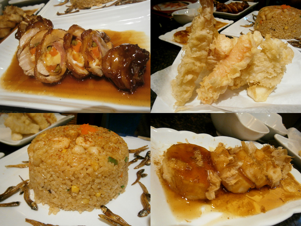 Chicken roulade, mixed tempura. agedashi tofu and kaisen raisu - dishes from Tempura Japanese Grill