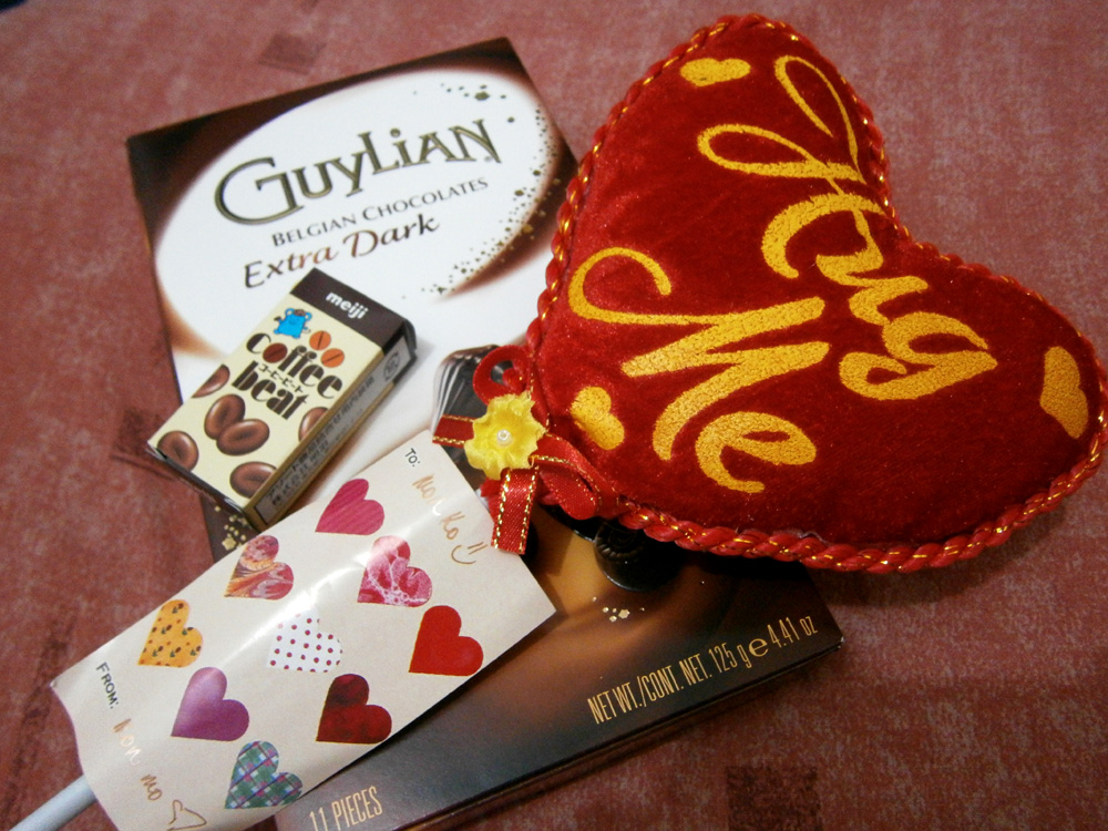 Chocolates and a stuffed heart from Mon