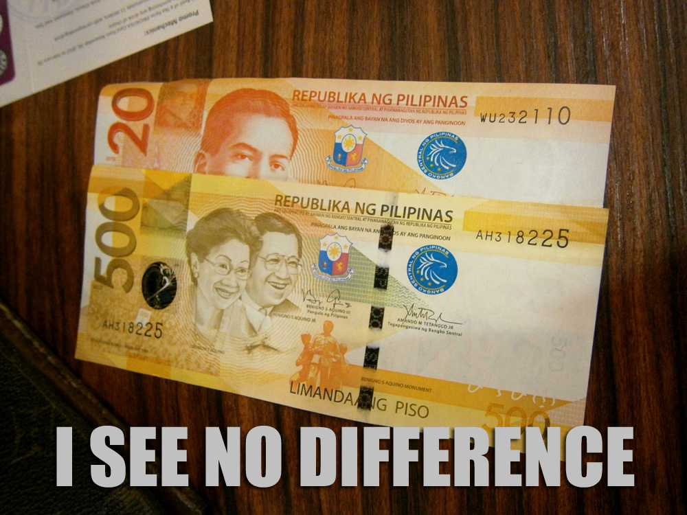 Colorblind problems --- the Php 20 bill is the same as the Php 500 bill - I see no difference