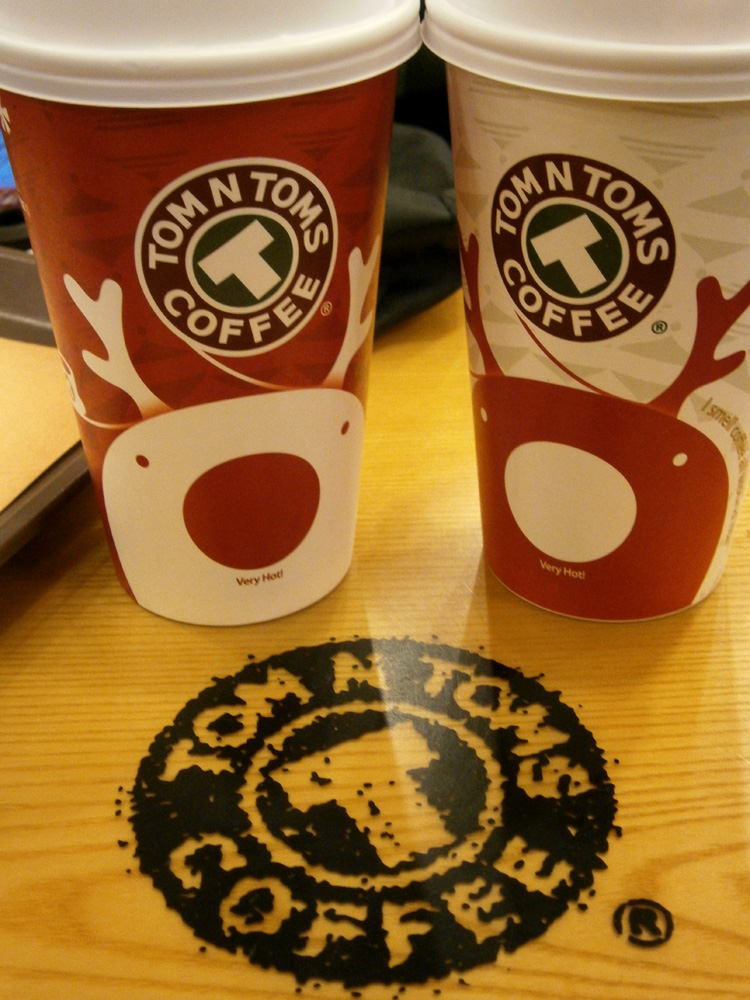 Day 1 - Coffee from Tom N Toms in Cheonggyecheon