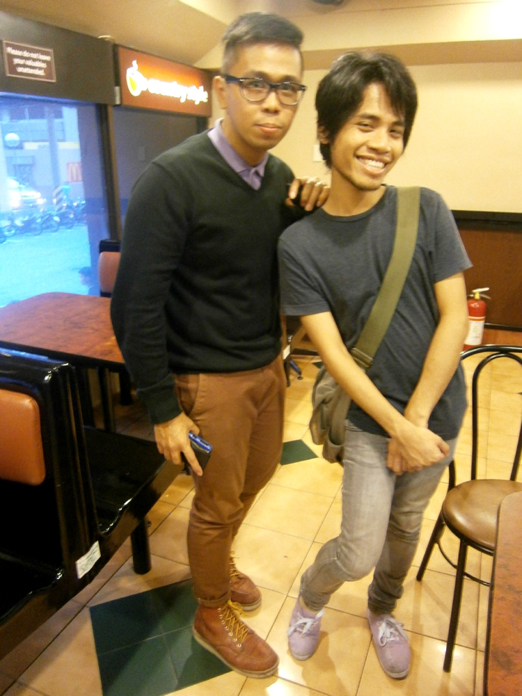 Ikle and I - Purple polo shirt, H&M black v-neck sweater, brick pants, Red Wing boots
