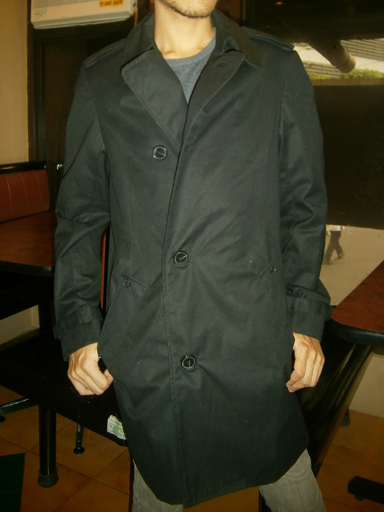 Ikle wearing the Zara Man trench coat I gave him