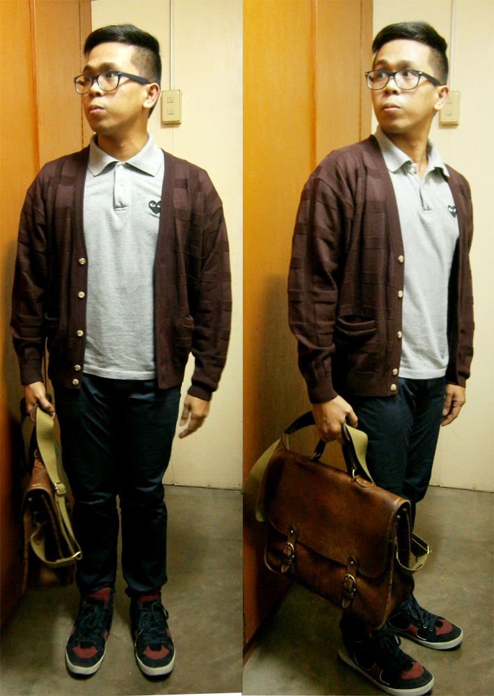Maroon cardigan, gray Play by Comme des Garcons Black Heart polo shirt, blue L.O.G.G. by H&M skinny pants, Yves Saint Laurent multicolor high-top sneakers, vintage Mulberry wexford briefcase messenger bag