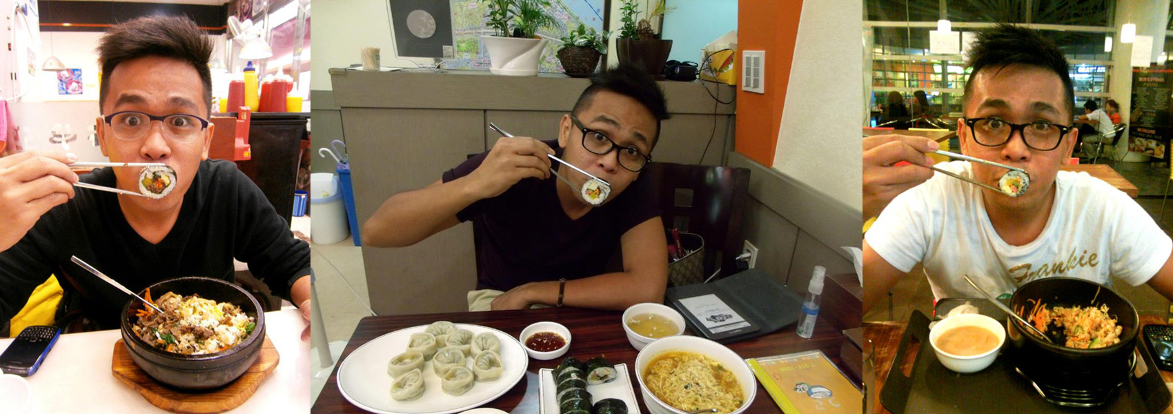 My 'signature' kimbap pose --- Sinpo Mandoo in COEX, Gimbap in Apgujeong and Babhouse in RCBC Plaza