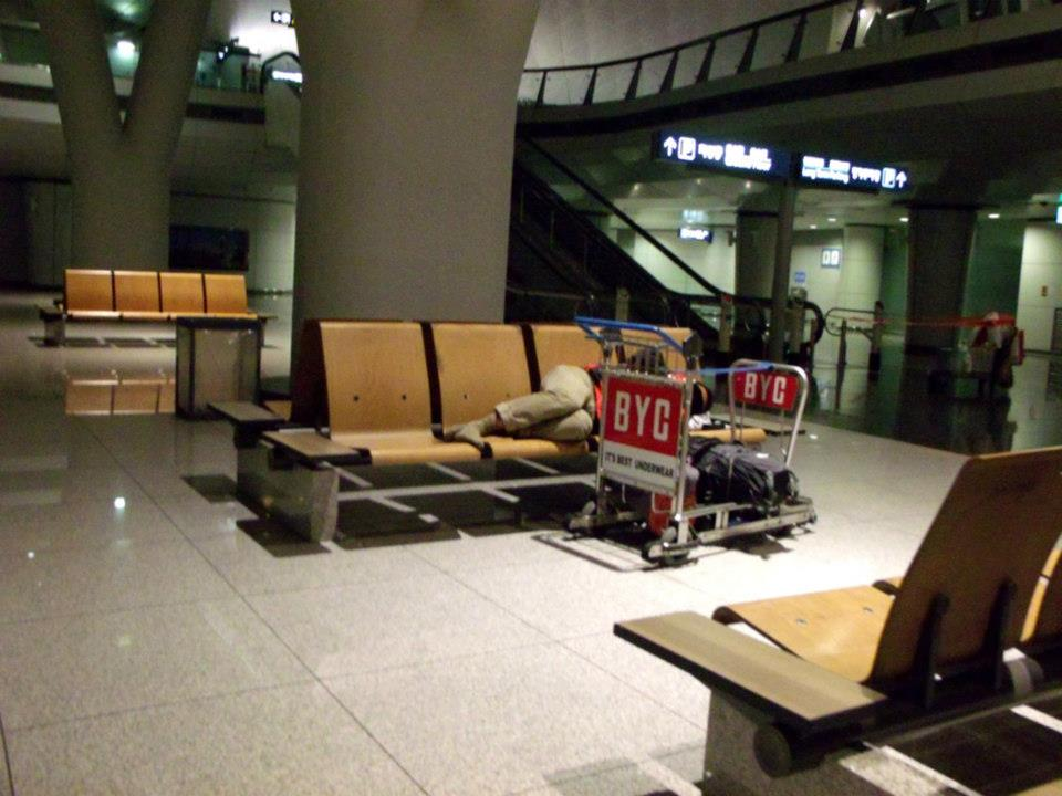 Sleeping in Incheon International Airport --- which we also did moments later