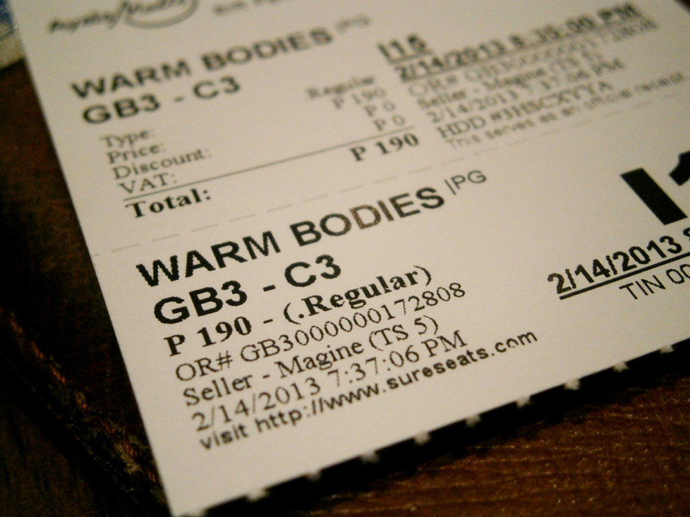 Tickets for the 'Warm Bodies' movie