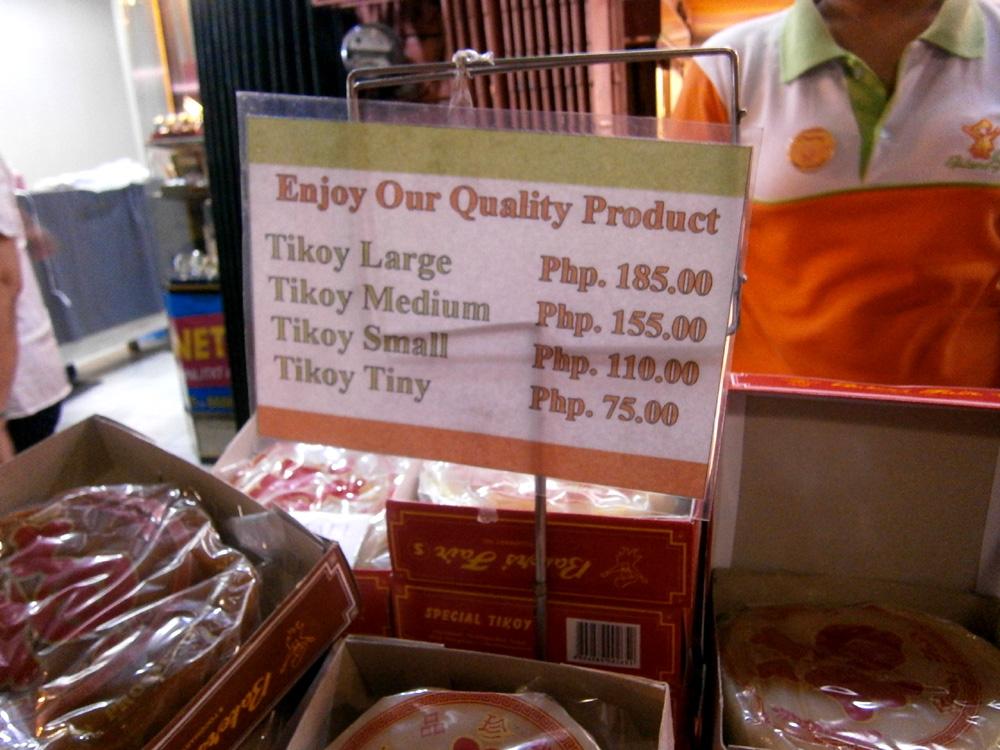 Tikoy prices at Baker's Fair  -  Binondo, Chinese New Year 2013