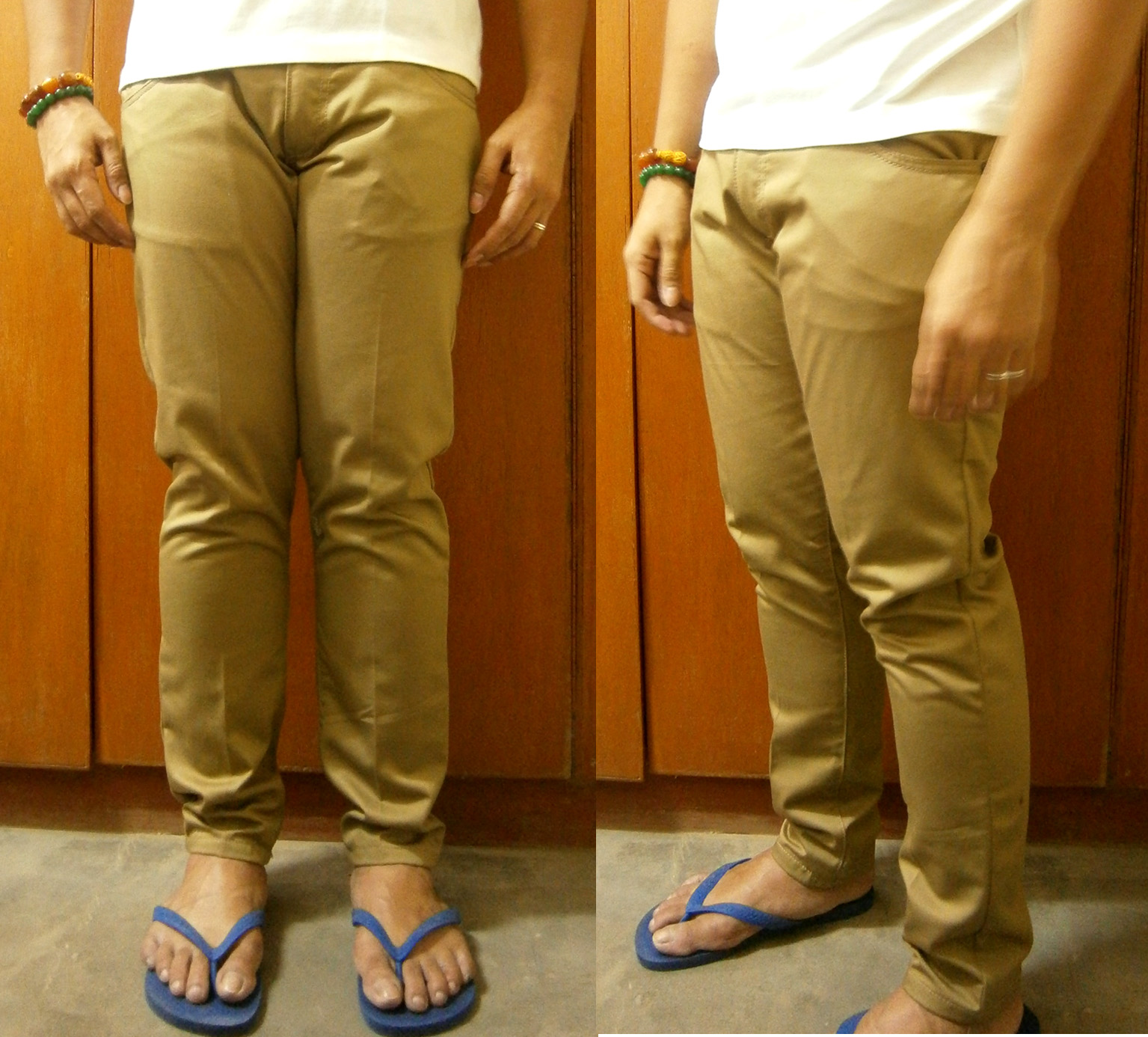Trying on my skinny khaki pants for the first time