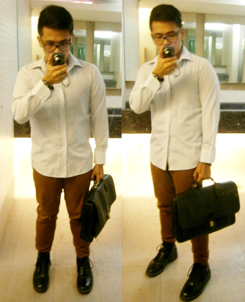 White with blue stripes longsleeves, brick pants, black 8-hole Doc Martens, vintage Coach Metropolitan briefcase messenger - Manila, Philippines