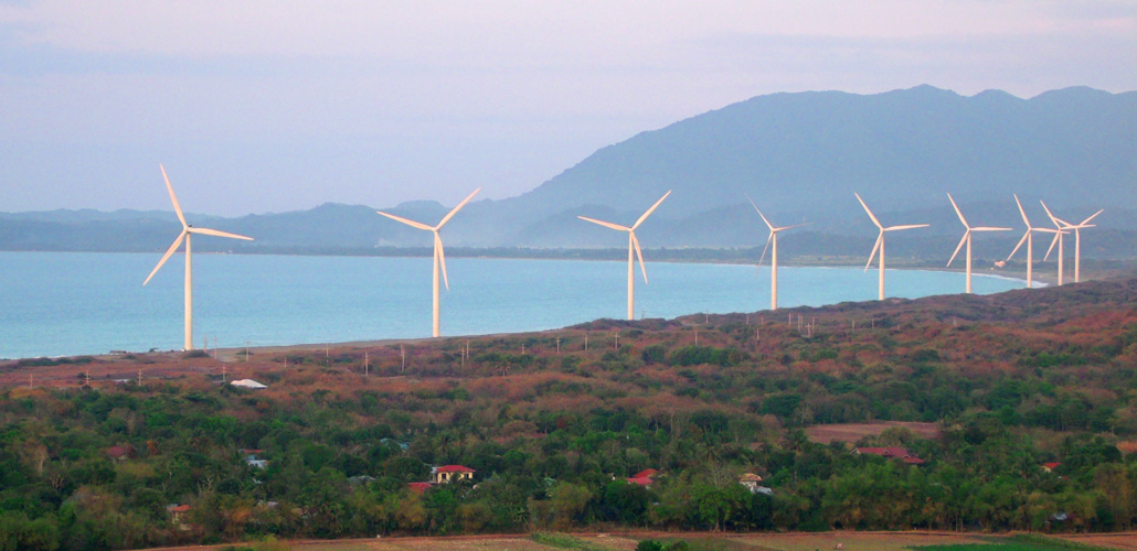 Bangui Windmills during sunset, as seen from the viewing deck - Bangui, Ilocos Norte