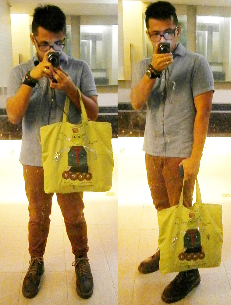 Bossini polo shirt, brick pants, brown 8-hole Doc Martens, green Prada Tessuto Robot 2 tote - Manila, Philippines