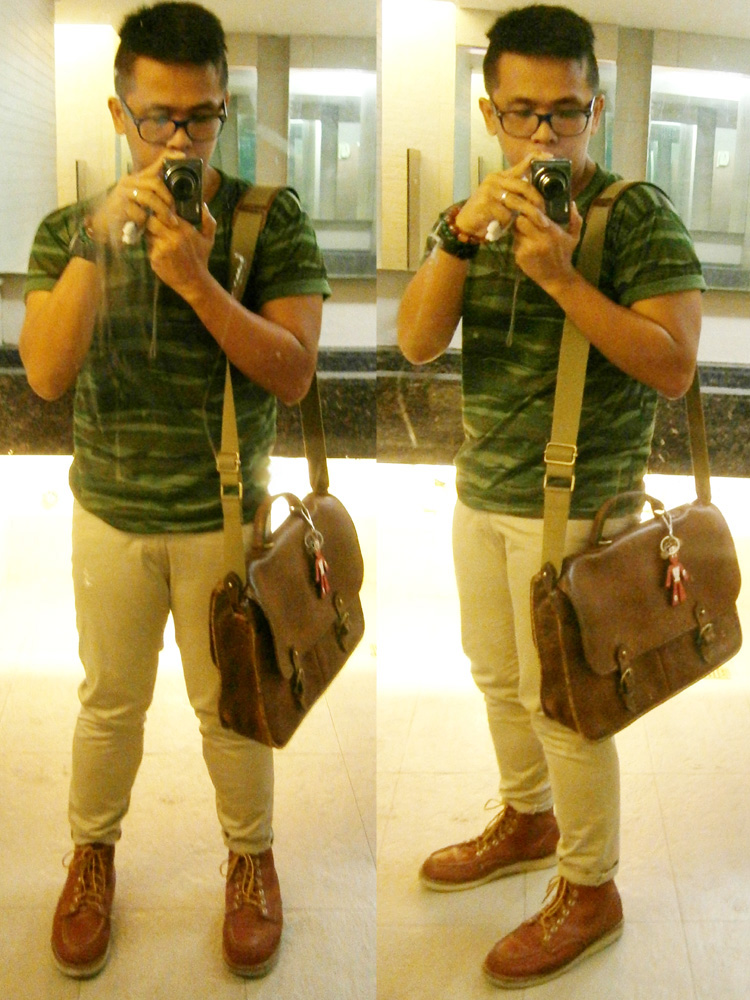 Camouflage shirt, skinny khaki pants, Red Wing 8875 boots, Mulberry wexford briefcase messenger and Prada trick in saffiano - Mulberry Bag Philippines