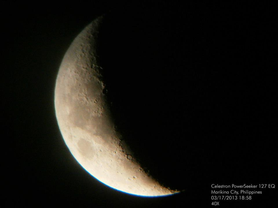 First Moon photo from my Celestron PowerSeeker 127 EQ - 03172013 18h58 PHT