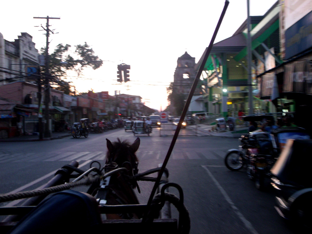 Looking over the road from the kalesa ride - Laoag, Ilocos Norte