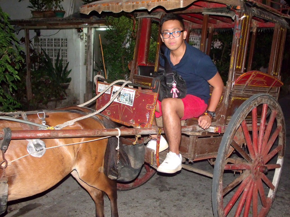 My first ever kalesa ride, blinded by the flash though