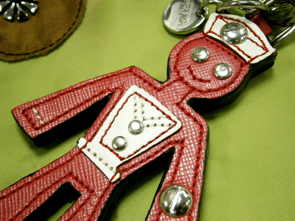 Prada keychain trick in saffiano from Spring Summer 2005