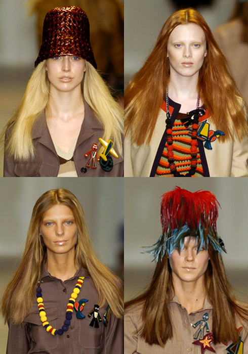 Prada trick on the runway - Racquel Zimmermann, Karen Elson, Daria Werbowy and Shannan Click - Prada Spring Summer 2005