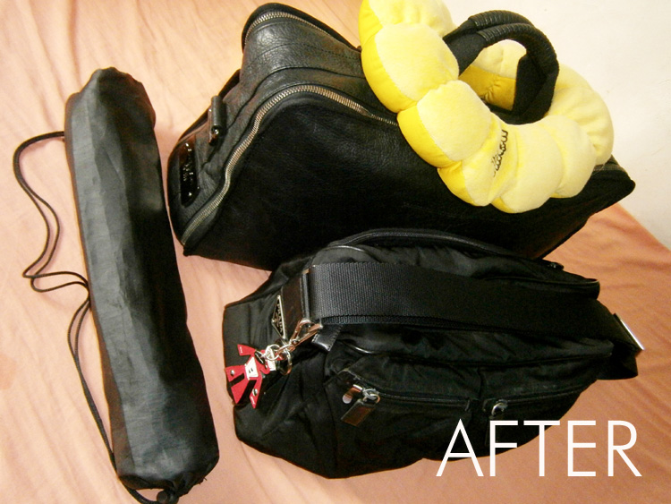 Ready for the longest bus ride of my life --- Givenchy duffle luggage, black Prada nylon messenger, Prada saffiano trick and a camera tripod