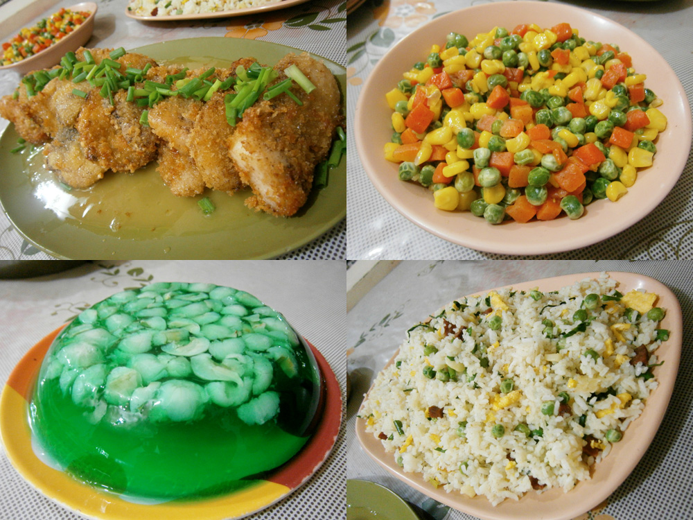 What the birthday boy cooked for my family - Cream Dory, buttered vegetabes, lychee jelly and the healthiest rice