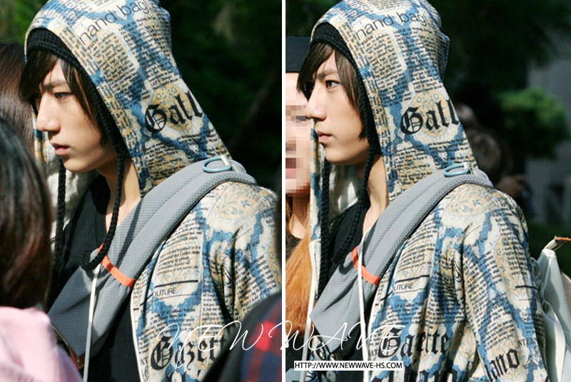 Hyunseung from B2ST with a John Galliano Gazette newspaper print hoodie jacket