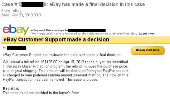 An Ebay 'Item Not Received' case