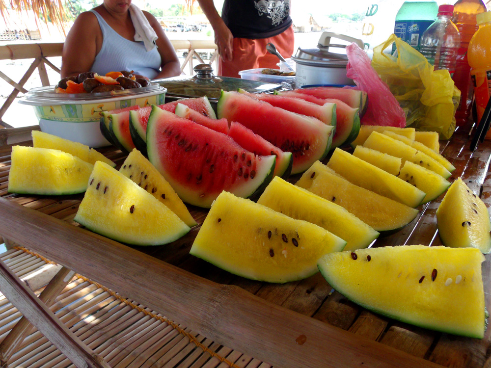 Colorful watermelons! I never thought there were yellow-fleshed watermelons