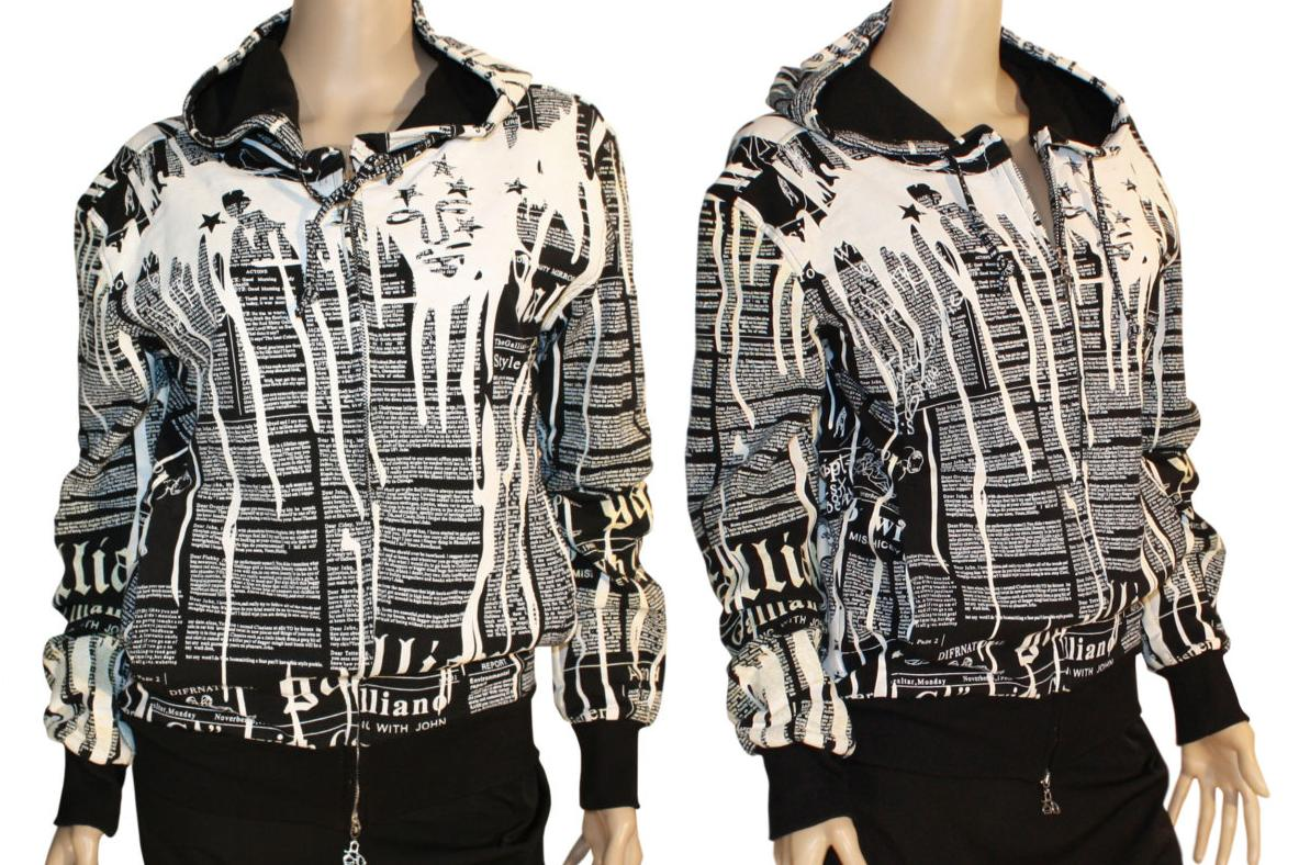 John Galliano Gazette Newspaper Print Hoodie Jacket