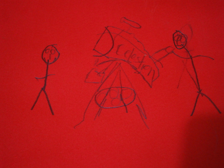 Look at this drawing by my nephew, the two of us bonding over observing the night sky