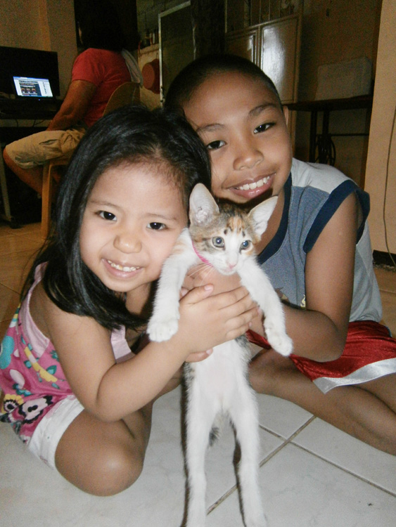 My niece and nephew with Miso