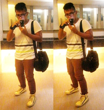 Oxygen shirt, brick pants, Yves Saint Laurent white patent sneakers and Prada nylon and saffiano messenger