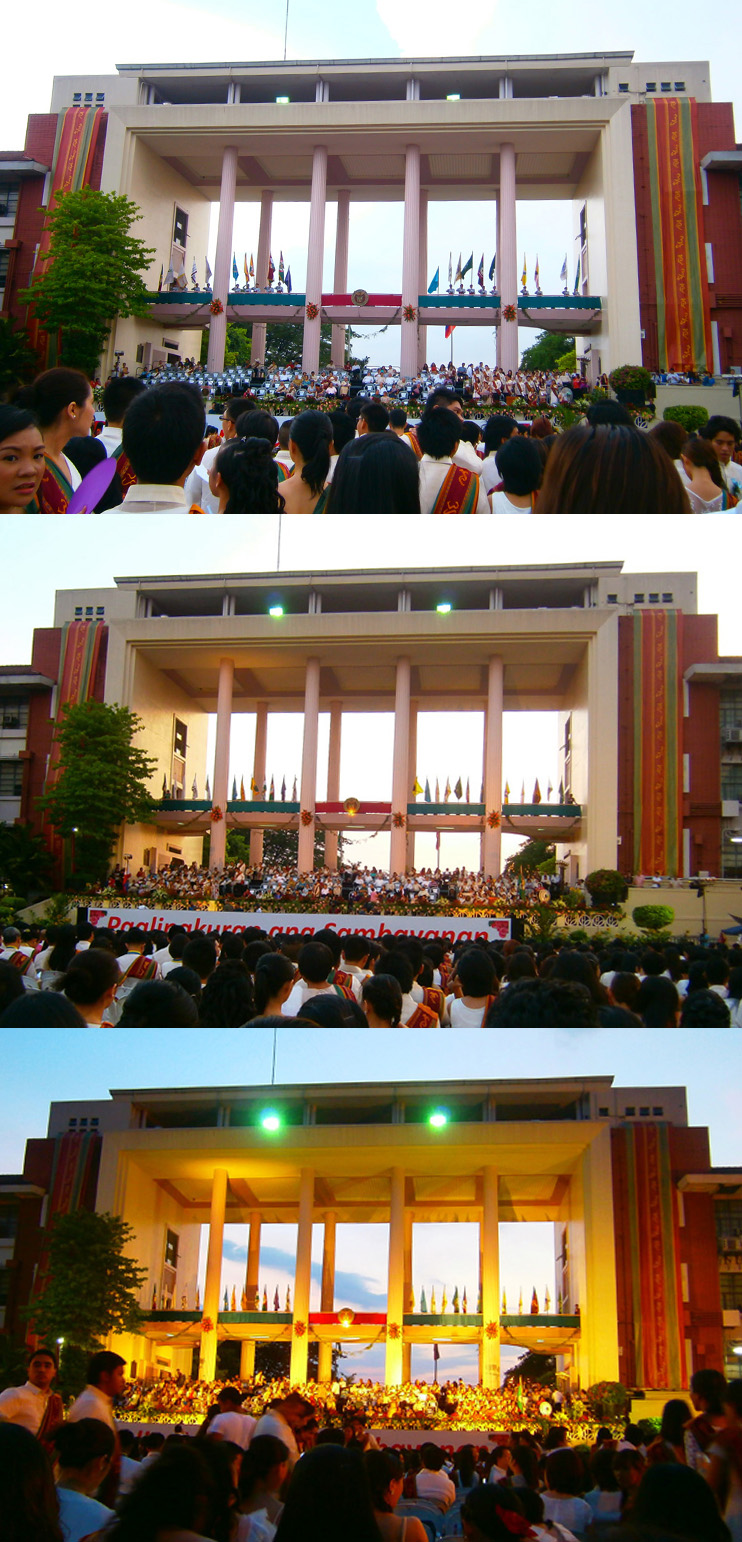 Quezon Hall in varying degrees of daylight - UP Diliman, 2013 Commencement Exercises