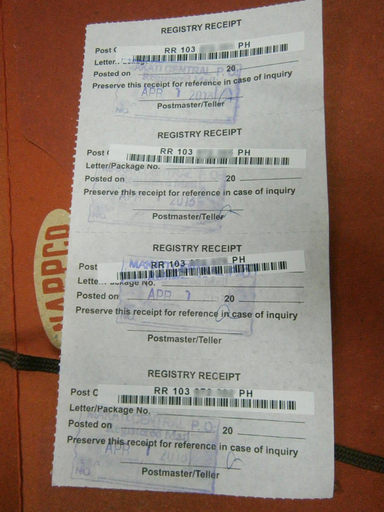 Registry receipts issued, containing the tracking number and bar code