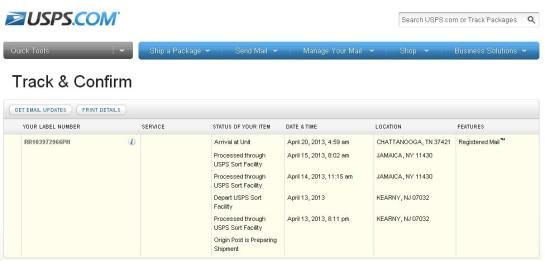 There you are, the tracking number from PhilPost finally working  in USPS' website