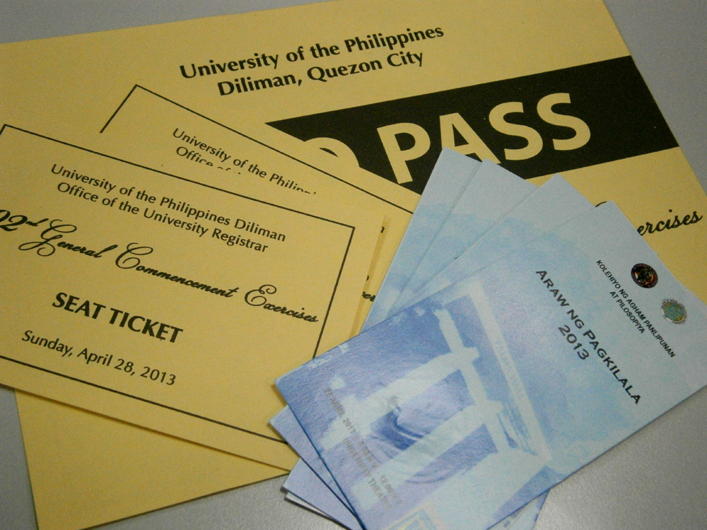 Tickets for both the college and university graduation