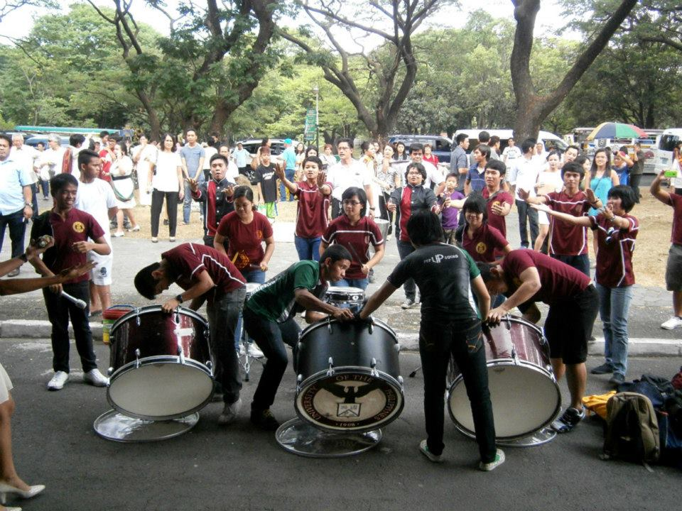 UP Pep Squad drummers outside the University Theater - CSSP@30 Recognition Rites