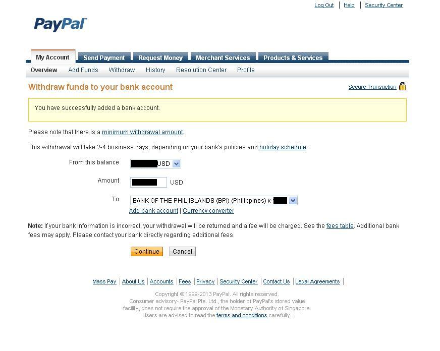 Withdraw funds to your bank account - Withdrawing money from PayPal to a bank account in the Philippines