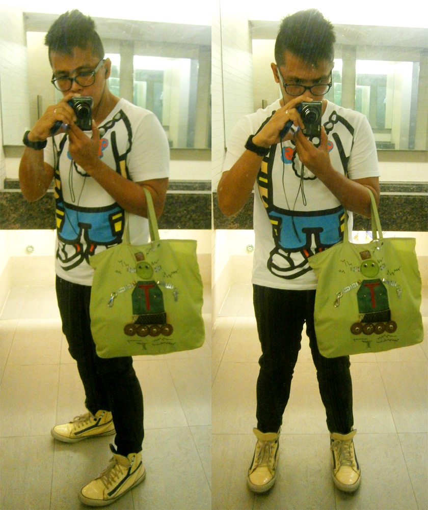 1017 printed shirt, black skinny pants, Yves Saint Laurent patent sneakers and green Prada tessuto robot 2 tote
