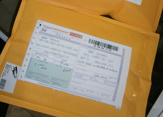 A 500g parcel to be sent to US via Philpost's IEMS